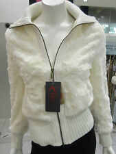 Faux Fur Coat Large White Ivory Soft Vegan Fur Zipper Front Baseball Style NWT