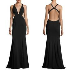 $495 NEW JAY GODFREY BLACK Douglas CUT OUT Plunging V-NECK Dress EVENING GOWN 8
