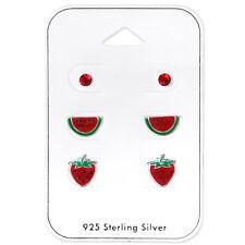 Sterling Silver Fruit Set with Crystal Stud Earrings