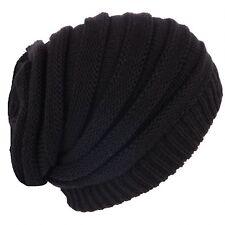 Beanie Hat Black Long Baggy Rasta style Ribbed Reggae Hat One Size