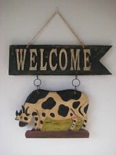 Oversize Wooden Dairy Cow Welcome Sign / Plaque - Farmhouse Decor *Sale*