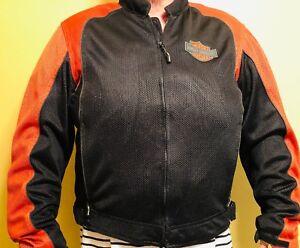Harley Davidson Black and Orange XL Motorcycle Jacket Padded Elbows