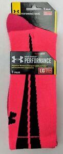 Under Armour Heat Gear Neon Pink Pair of Crew Socks Men's Large 9 - 12.5