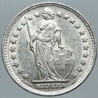 1952 B SWITZERLAND HELVETIA Symbolizes SWISS Nation SILVER 1 Franc Coin i88469