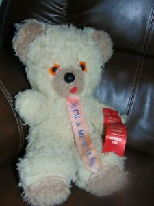 """Vintage Teddy Bear plush 18"""" with wind up musical Rock a Bye Baby"""
