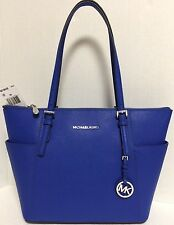 NEW Michael Kors Jet Set E/ W Electric Blue Saffiano Leather Tote Handbag $248