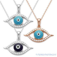 Evil Eye Greek Luck Charm Pendant Hamsa Kabbalah Necklace in 925 Sterling Silver