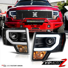 Exclusive 2013-2014 Ford F150 [D3S HID] Black LED Halo DRL Projector Headlights