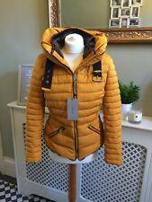 Zara Mostaza Chaqueta Acolchada Abrigo Collar De Piel Capucha Oculta Talla M UK 10 BNWT Anorak
