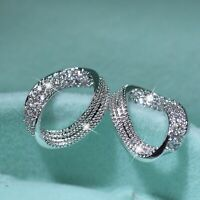 18k white gold gp made with SWAROVSKI crystal 3D circle wave fashion earrings