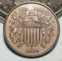 1869 Two Cent Piece 2C GEM UNC High Grade Full Motto Great US Copper Coin CC6500