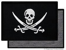 PIRATE FLAG PATCH JOLLY ROGER Skull CALICO JACK BLACK w/ VELCRO® Brand Fastener