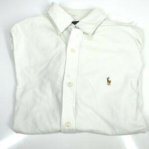 Men's Ralph Lauren Sport Small White Collar Shirt Custom Fit Designer (1315 D7)