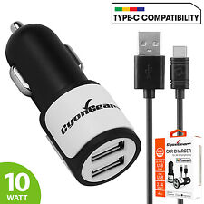 CyonGear 2.1A/10W Dual USB Port Car Charger w/ Type C Cable for Huawei Nexus 6P