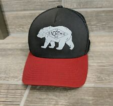 The North Face Hat Red Grey Bear Patch Cap Logo Flex Fit Snap Back Trucker