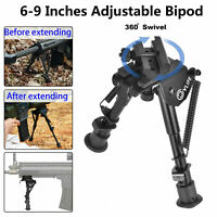 6-9 Inches Rifle Bipod Adjustable Spring Return with 360 Degree Swivel Adapter
