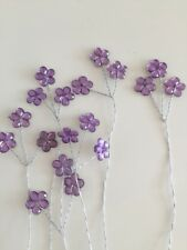 18 Tiny Purple Crystal Daisy On 6 Wire Stems Wedding Bridal Flowers Floral Craft