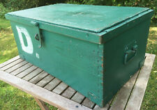 Vintage Rustic Military Campaign Pine Iron Storage Trunk Blanket Chest Toy Box