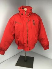Vtg 80s DOWN SKI JACKET WINTER COAT BY FERA SZ 10 shiny red embroidered BATWING