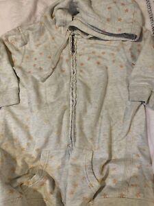 Hollister Juniors Medium Gray Orange Star Jacket 1/3 Sleeve Zip Up Hood