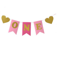 Pink Baby Boy Girls High Chair Banner Baby First One 1st Birthday Party Decor UK