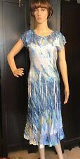 Komarov Dress SIZE Large Cap Sleeves, Sheer Lace sleeves, hem & back. Midi Blue
