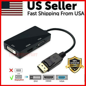 3 In 1 Displayport DP Male To HDMI/DVI/VGA Female Adapter Converter Cable 1080P