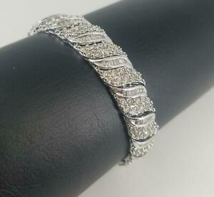 10k White Gold Bracelet | SI2-I1 Diamonds 8.92 ctw Round Brilliant | Color K - L