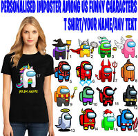 Personalised Among Us Name T-Shirt, Imposter Crewmate Sus Game Kids & Adults Top
