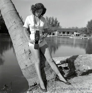 Bunny Yeager Estate Pin-up Camera Negative 1950s Posed Candid Bunny With Camera