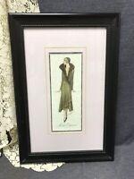 Beautiful Vintage Art Deco 1920's Signed Atelier Bachroitz Fashion Print Framed