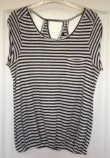 """River Island"" Women's Top, Size 12, Black/Cream striped, elasticated waist"