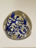 Murano Glass Paperweight w blue & white flowers, Hand Blown, Controlled Bubble