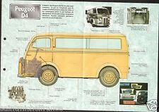 Peugeot D4 Ambulance Utilitaire Fourgon 4 Cyl. France 1955 Car Auto FICHE FRANCE