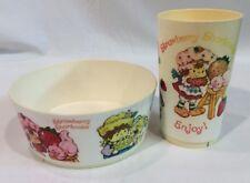 VINTAGE 2 Pc 1980 Strawberry Shortcake Bowl & Cup Set EUC RARE Collectible
