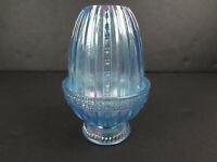 Fenton Light Blue Carnival Iridescent Glass Ribbed Tulip Scroll Fairy Lamp
