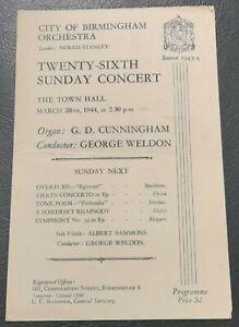 1944 City of Birmingham Orchestra Concert Programme Albert Sammons Next week