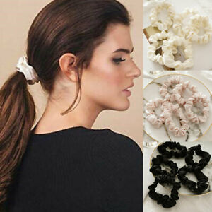 5Pcs Women Hair Ring Silk Scrunchies Hair Band Ties Ropes Solid Ponytail Holder