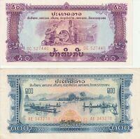 Group Lot 2 Different Vintage UNC Banknotes Laos 1968 50 100 Kip Pick 22a 23a