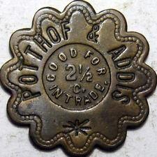 1942 Burlington Iowa Good For Token Potthof & Addis 2 1/2 Cents