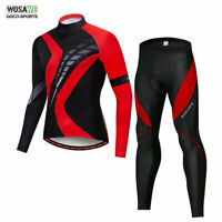 WOSAWE Men's Cycling Jersey Pants Set Long Sleeve Bike Full Zipper Pad Trousers
