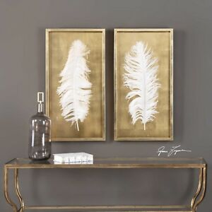 """TWO LARGE 34"""" GOLD LEAF SHADOW BOX HUGE FEATHER UNDER GLASS MODERN WALL ART"""