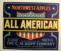 1940s All American Patriotic Apple Fruit Crate Label