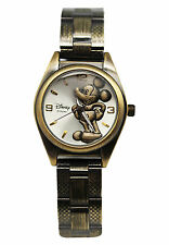 New Disney MICKEY MOUSE WRIST WATCH #M002-SWI Bronze Relief Mickey on Dial