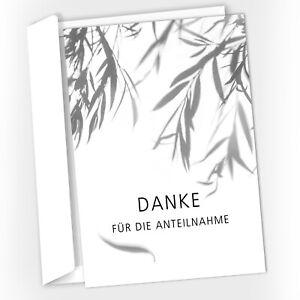 15 Trauer-Danksagungskarten Trauer-Karten mit Umschlag – Trauerweide schwarzweiß