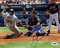 Mike Piazza Signed 8x10 New York Mets Photo - MLB Tag at Home Plate PSA/DNA COA
