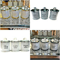NEW CRUSHED STUNNING DIAMOND SILVER FILLED TEA COFFEE SUGAR CANISTERS JARS UK