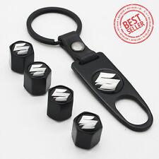 Black Car Wheel Tyre Tire Valve Dust Stems Air Caps Keychain With Suzuki Emblem