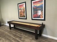Reno Package 8' Pool Table & 12' Shuffleboard w/ Rustic Modern style in stock