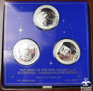 2000 Dawn Of The New Millennium Solid Sterling Silver Franklin Mint Medals w/Box
